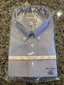 GOLD LABEL ROUNDTREE & YORKE NON-IRON MEN'S 18.5 36-37 DRESS SHIRT