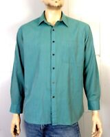 vtg 80s City Streets Retro VAPORWAVE Cyan Blue Green Striped Dress Shirt sz L