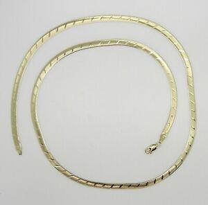 "14K Yellow Gold 24"" Reversible Herringbone Necklace Chain~4MM Wide~9.7 Grams~EUC"