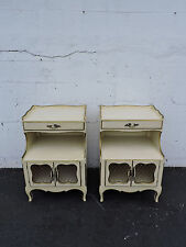 Pair of Tall French Painted Nightstands End Tables 7201