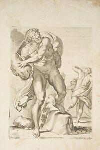 Gravure XVII° le Cyclope POLYPHEME Acis et Galathée Carlo CESIO d'ap CARRACHE