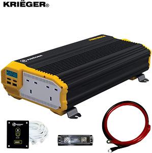 K KRIËGER 2000 Watts Power Inverter 12V to 230V, Modified Sine Wave Car Dual 230