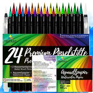 Pinselstifte Set | 24 Brush Pens | 2 Wassertankpinsel |15 Aquarellpapier Blätter