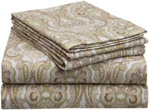 Pointehaven Heavy Weight Printed Flannel Sheet Set, King, Paisley Sage