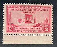 US Stamps, Scott #649 2c Wright Bros 1928 Civil Aeronautics Conf VF/XF M/NH
