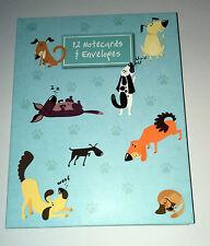 """12 Divertidos perros 5x7"""" tarjetas en blanco y 10 carpeta de cartera de regalo decorada Envs notelets"""
