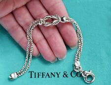 Tiffany & Co Sterling Silver Infinity Twist Double Love Knot Rope Bracelet