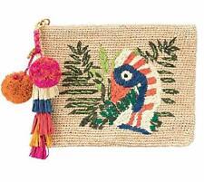 Tory Burch Women's Straw Raffia Toucanets Allover Parrot Clutch Handbag
