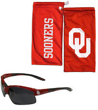 Oklahoma Sooners Blade Sunglasses with Microfiber Bag UV 400 NCAA Licensed