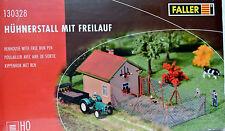 Faller 130328 HO Henhouse W/ Free Run Pen Plastic Kit NIB