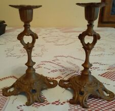 """Pair Candle Holders Ornate Metal Victorian Style Patina 7"""" Tall"""