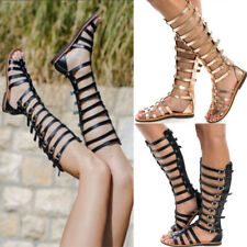 Womens Flat Knee High Cut Out Gladiator Ladies Sandals Strappy Summer Shoes Size