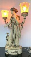Antique Auguste Moreau L&F Moreau French Art Nouveau Spelter Figural Table Lamp