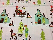 Alpine Wonderland fabric Riley Blake material C2900 PINK Xmas Trees sleighs