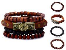 bracciale uomo pelle in legno con cuoio braccialetto pietre dure acciaio di set