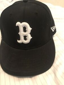 New Era 59FIFTY Fitted BOSTON RED SOX BLACK/WHITE Hat Baseball Cap Men's 7 1/4