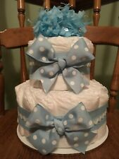 Baby Boy Diaper Cake, 3 tier, Blue Bow, Baby Shower Gift Centerpiece