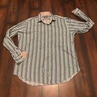 Thomas Dean Men's Striped Long Sleeve Button Down Shirt XL Flip Cuff Paisley
