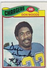 Don Woods 1977 Topps autographed football card #248 San Diego Chargers