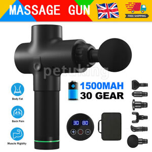 Massage Gun 6 Speed Percussion Massager Tissue Muscle Vibrating Body Relaxing UK