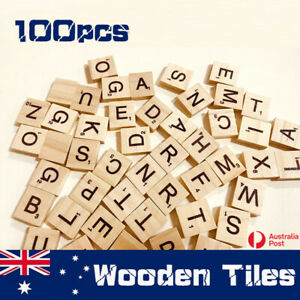100/200/500x Letters Wooden Scrabble Tiles Black Letters &Numbers For Crafts AU