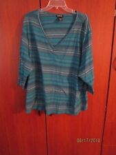 Avenue Striped 3/4 Sleeve V-Neck Tunic sz 30 32 Bust 60 62 Length 25 Inches