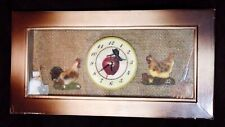 Rooster Hen Apple Rectangle Wall Clock - Brown / Apple