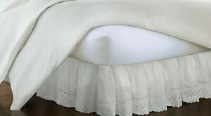 """Vintage Chic Ruffled Bedskirt Eyelet Twin 14"""" Drop Length Ivory"""