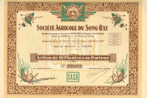 Societe Agricole du Song-Ray beautiful Indonesia stock certificate with coupons
