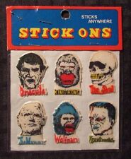 1979 Spencer Gifts Monster STICK ONS Puffy Stickers SEALED Dracula Frankenstein
