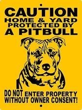 PITBULL DOG SIGN,PIT BULL DOG SIGN,DECAL GUARD DOG SIGN 9x12 ALUMINUM H3292A