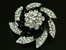 Stylish High Quality White & Black Crystal Rhinestone Flower Brooches Pins BR48