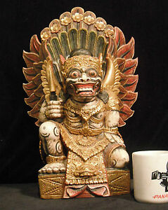 """Super Rare Large Wood Carving of Ravana from the Ramayana 19"""" Tall (48 cm) Nice"""