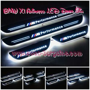 4pcs WHITE BMW X1 E48 F48 Car Door Sill Moving Animated LED Light Scuff Panels