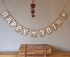 30th Birthday Bunting Banner Vintage Hessian Burlap