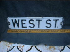 WEST ST  Vintage Street Sign Embossed 24 x 6 Black & White HEAVY L@@K ! !