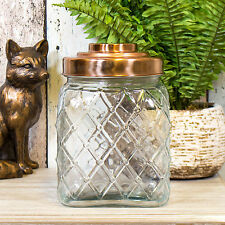 2.4L Glass Storage Jar Copper Lid Cookie Biscuit Barrel Flour Sweets Rice Pasta
