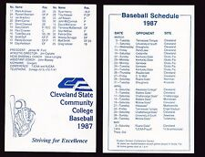 25 - 1987 Cleveland State Community College Cougars Baseball Schedules OH
