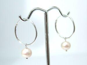 Sterling Silver Hoop Earrings with Freshwater Pearls 3/4 inch Diameter