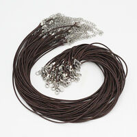 Wholesale Lots 20 Pcs Dark Brown Leather Cord Rope Necklace Chain Lobster Clasp