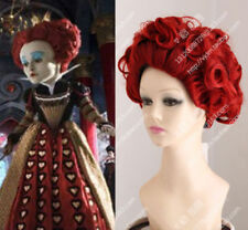 Alice in Wonderland Red Curly Queen of Hearts W/Crown Costume Wig+Gift Hairnet:
