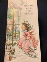 """3479🌟Vintage '50s """"If I Had My Pick"""" Southern Belle Straw Hat Little Dog Card"""