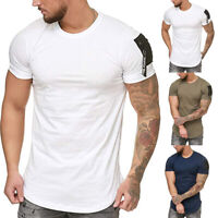 Men's Summer Short Sleeve T-Shirt Basic Work Sports Solid Color Tee Tops US