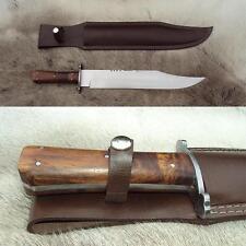 English Sheffield Bowie Knife & Leather Sheath - Sharp Hand Forged HCS Blade