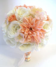 17 piece Wedding Flowers Bridal silk Bouquet PEACH CREAM BLUSH IVORY  package