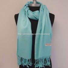 NEW Women Soft PASHMINA SILK Cashmere Wool SHAWL Scarf Stole WRAP Solid Sky Blue