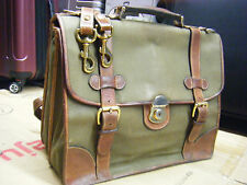 HOLLAND SPORT Vintage Leather & Canvas Briefcase MULHOLLAND Carry-On Bag Mens