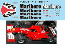 1/18 FERRARI F1 F2001 F 2001 MICHAEL SCHUMACHER SPONSOR DECALS TB DECAL TBD114