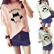 Fashion Womens Summer Tops Ladies Comfort Short Sleeve Cartoon Blouse T-Shirt