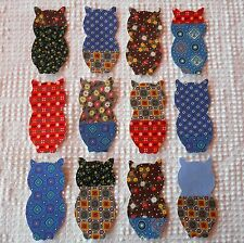 AB76 IronOn SewOn Appliques from Vintage Cutter Quilt Blocks, Set 12 Calico Owls